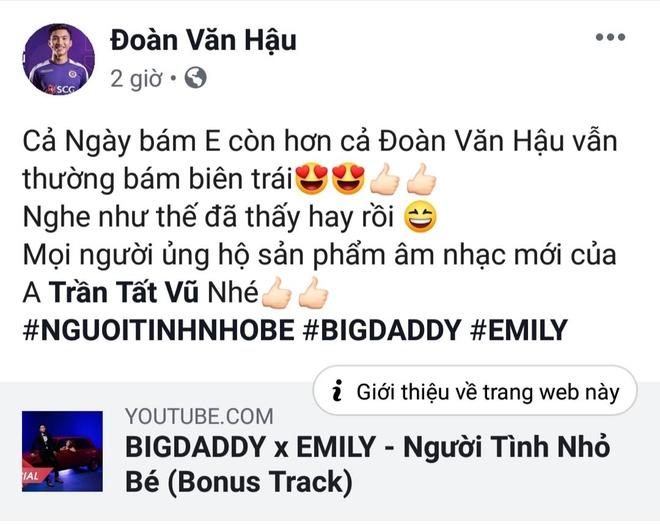 Fan gọi tên Đoàn Văn Hậu khi nghe bài hát mới của vợ chồng Big Daddy
