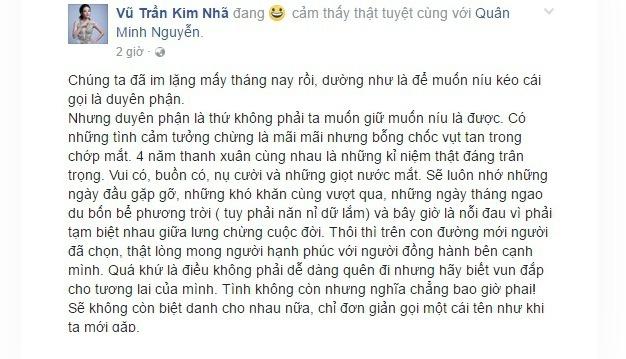 Kim Nha BB&BG cong khai chuyen chia tay chong tren Facebook hinh anh 1