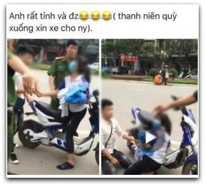 Chang trai bi che hen khi quy goi xin cong an khong bat xe hinh anh 1