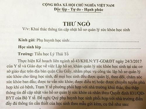 Phieu kham suc khoe hoi hoc sinh cap mot so lan pha thai hinh anh 1