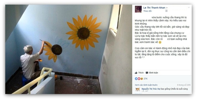 Nam hoa si gia ve tranh lam dep cho khu chung cu o Sai Gon hinh anh 1