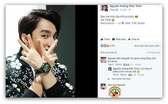 Hot girl Kieu Trinh bat ngo khoe Son Tung M-TP la 'ban trai moi' hinh anh 1