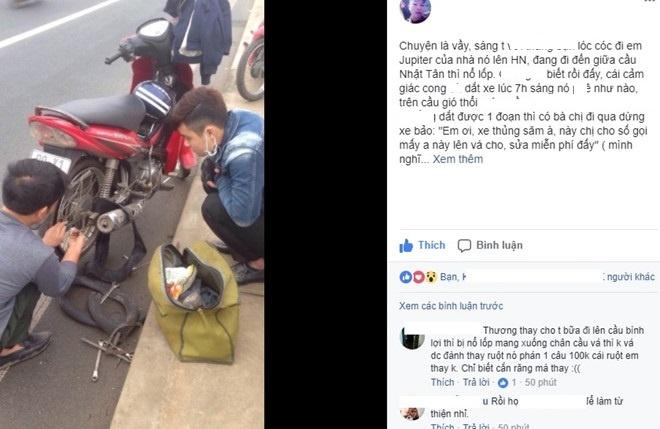 Chang trai cam dong vi duoc sua xe mien phi tren cau Nhat Tan hinh anh 1