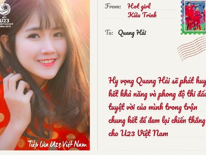 Kha Ngan, Khanh Vy va dan hot teen gui thiep chuc U23 Viet Nam vo dich hinh anh