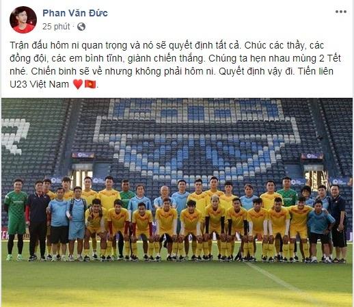 Van Duc chuc U23 'an Tet muon', Trong Hoang mong dan em chien thang hinh anh 1 van_duc.jpg