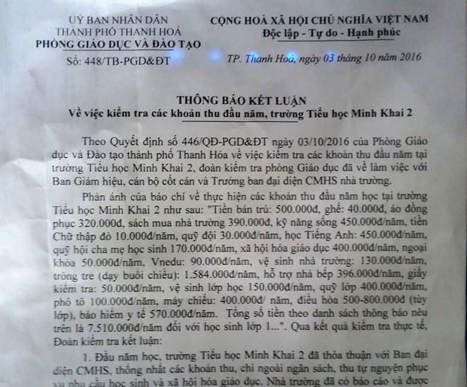 Chu tich TP Thanh Hoa chi dao tra lai tien thu sai quy dinh hinh anh 1