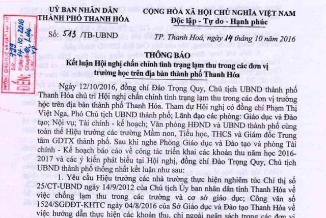 Hang chuc truong o Thanh Hoa tra lai tien cho phu huynh hinh anh