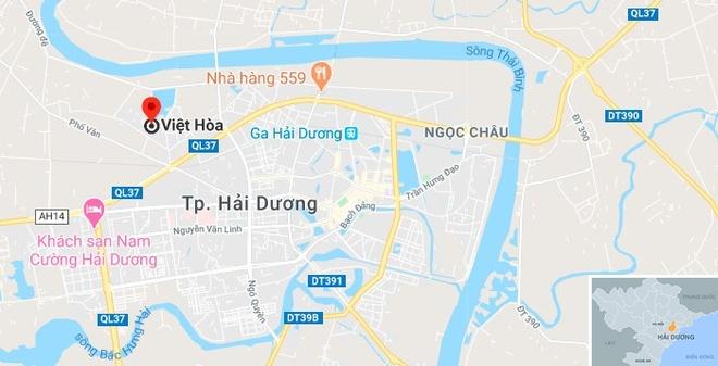 Hai nguoi tu vong sau va cham voi xe container hinh anh 2 map_haiduong_viethoa.jpg