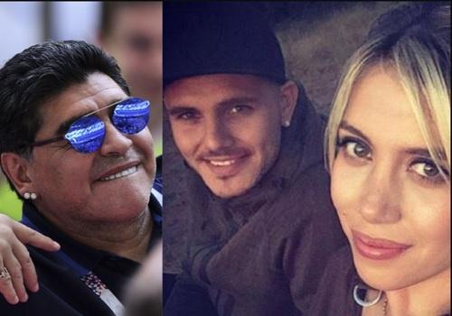 Diego Maradona tung an nam voi vo cua Mauro Icardi? hinh anh