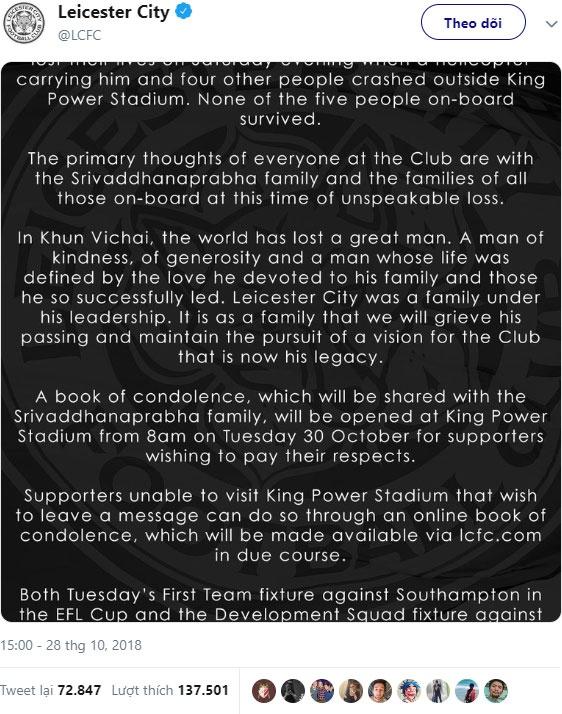 Chu tich Leicester City,  Chu tich Vichai,  truc thang phat no,  King Power anh 2