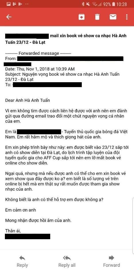 Tuyen thu Viet Nam viet mail xin mua ve du liveshow Ha Anh Tuan hinh anh 1