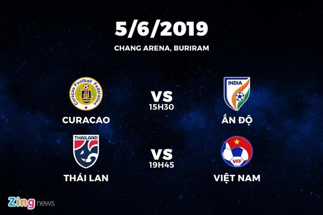 Lịch thi đấu 2 trận mở màn King's Cup 2019. Đồ họa: Minh Phúc.