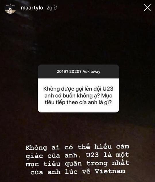 Martin Lo lan dau the hien noi buon vi khong duoc du U23 chau A hinh anh 1 martin_lo.jpg