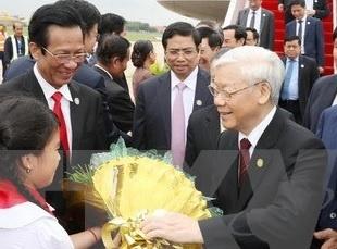 Le don chinh thuc Tong Bi thu Nguyen Phu Trong tai Campuchia hinh anh