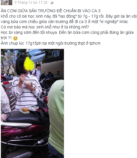 Hoc sinh dung com chieu giua san truong: Sao phai kho the? hinh anh 1