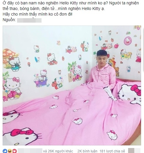 chang trai thich Hello Kitty anh 1