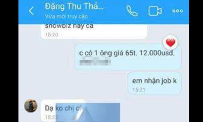Sau Andrea, Dang Thu Thao bi lo tin nhan moi 'di khach' gia 12.000 USD hinh anh 1
