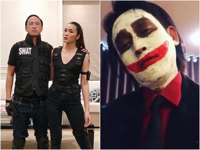 Vo chong Tang Thanh Ha va dan sao Viet hoa trang Halloween hinh anh