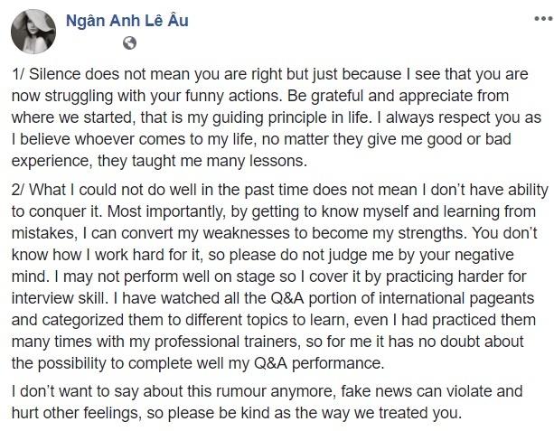 Le Au Ngan Anh: 'Dung phan xet toi bang loi nghi tieu cuc' hinh anh 1