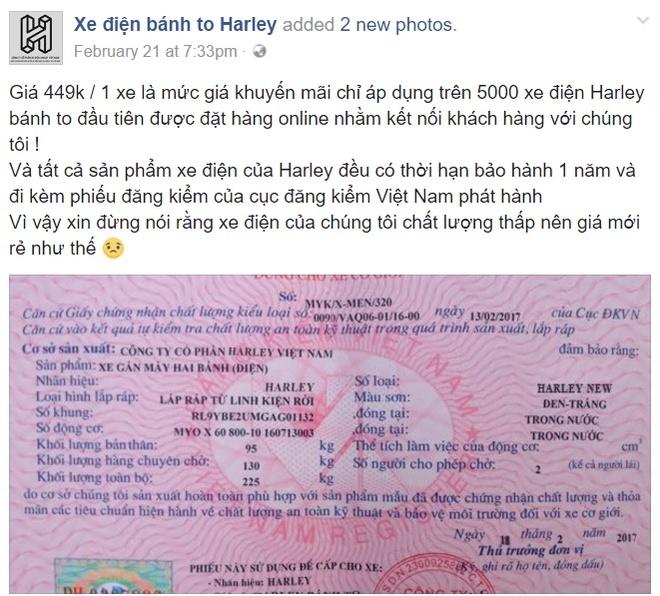 Chieu ban xe dien banh to 449.000 dong/chiec tren Facebook hinh anh 1