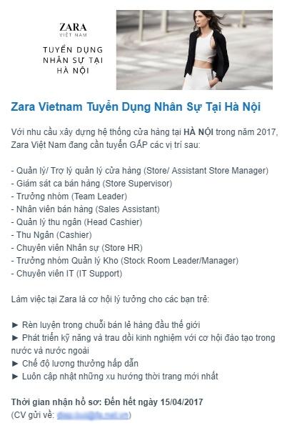 Zara gap rut tuyen dung, chuan bi mo cua hang dau tien tai Ha Noi? hinh anh 1