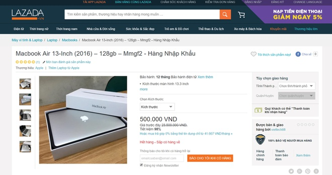 Macbook Air ban gia 500.000 dong nhung khong ai mua duoc hinh anh 1