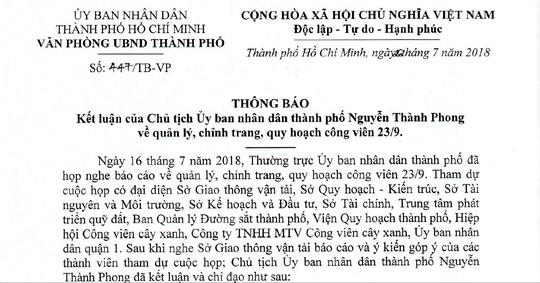TP.HCM ra lenh cham dut cho thue o Cong vien 23 Thang 9 hinh anh 1