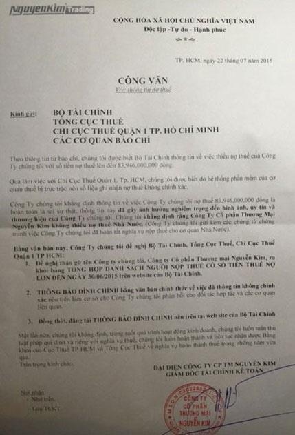 Dai gia ban le, dia oc 'phan phao' vu no thue hang chuc ty hinh anh 1 Nguyễn Kim gửi văn bản đề nghị Bộ Tài chính công bố lại thông tin về nợ thuế.
