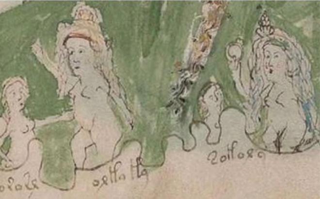"""Cụm từ được chú thích bên dưới người phụ nữ thứ 2 từ trái qua là """"orla la"""", nghĩa là """"sắp mất kiên nhẫn"""". Ảnh: Telegraph."""