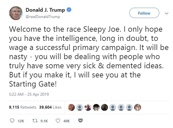 TT Trump goi cuu pho tong thong vua ra tranh cu la 'Biden Ngu gat' hinh anh 1