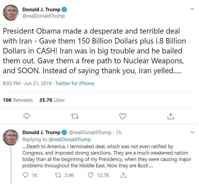 TT Trump huy khong kich Iran 'de cuu mang 150 nguoi' hinh anh 1