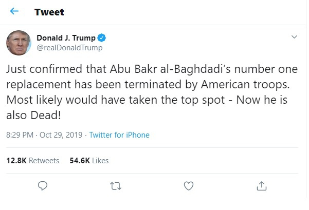 TT Trump tuyen bo ke ke nhiem thu linh IS cung da chet hinh anh 1