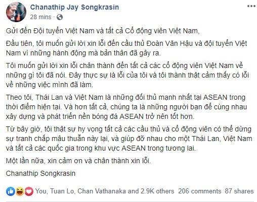 Chanathip gui loi xin loi toi CDV va tuyen Viet Nam hinh anh 2
