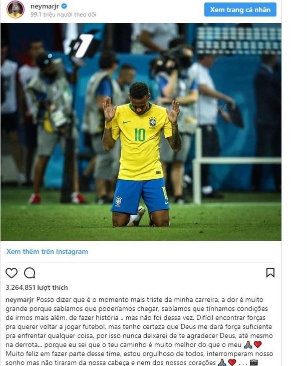 Neymar gui tam thu xuc dong sau that bai cua Brazil hinh anh 1