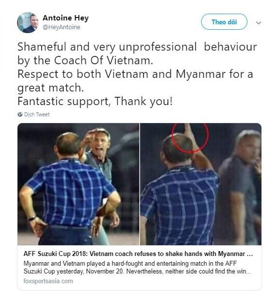 Thay Park bi HLV Myanmar chi trich vi khong bat tay sau tran dau hinh anh 1