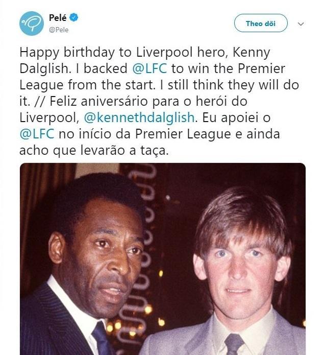 Huyen thoai Pele ung ho Liverpool vo dich Premier League hinh anh 1