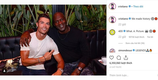 Ronaldo gay sot khi chup anh cung 'vua bong ro' Michael Jordan hinh anh 1