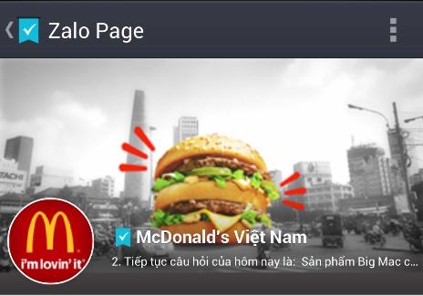 Zalo - At chu bai trong chien luoc McDonald's? hinh anh