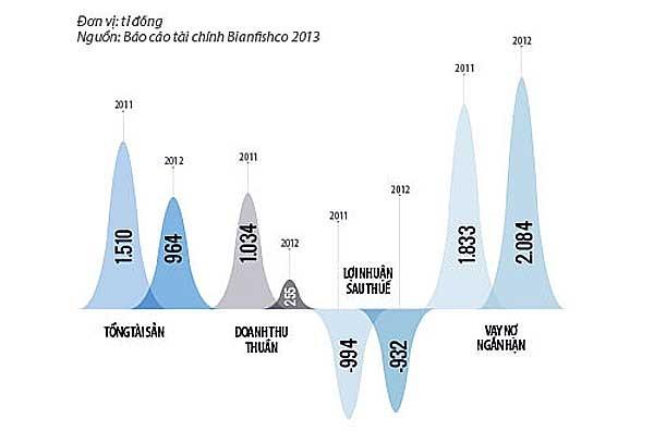 Chong dai gia thuy san Dieu Hien: May xanh va dia nguc hinh anh 1 Bianfishco trước và sau tái cơ cấu. (Nguồn: báo cáo tài chính Bianfishco 2013).