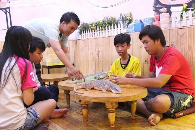 Quan ca phe rang xay voi bo sat doc dao nhat Sai Gon hinh anh 2 Các bạn trẻ đến quán đều được nhân viên của quán giới thiệu qua các loại bò sát, và hướng dẫn cách vuốt ve chơi đùa với chúng.