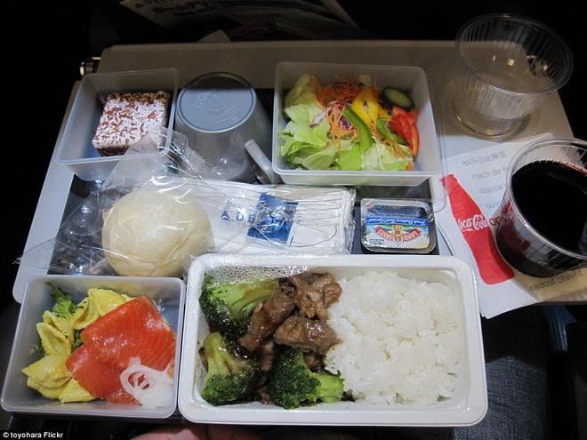 Kham pha do an cua cac hang hang khong lon hinh anh 4 Hãng Delta Airlines của Nhật Bản phục vụ sashimi cá hồi, salad gồm ớt, rau diếp, cà rốt, bắp cải tím. Bên cạnh đó còn có cơm với thịt bò (hoặc thịt gà) xào.