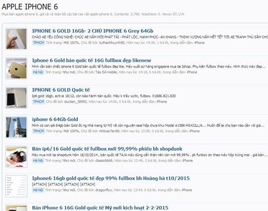 Nhon nhip thi truong iPhone 6 cu dip gan Tet hinh anh 2 iPhone 6 rao bán trên mạng, trong đó chủ yếu là bản 16GB.