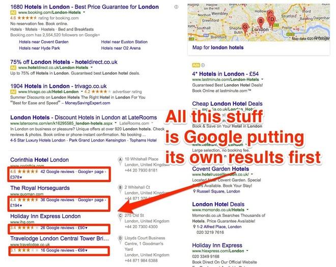 Chẳng hạn trong ảnh này, có thể thấy Google xếp đánh giá của người dùng Google lên trên các website thứ ba như TripAdvisor (với điều kiện người dùng đang đăng nhập Google).