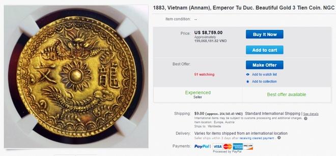eBay rao ban dong xu vang thoi vua Tu Duc gia 199 trieu dong anh 1