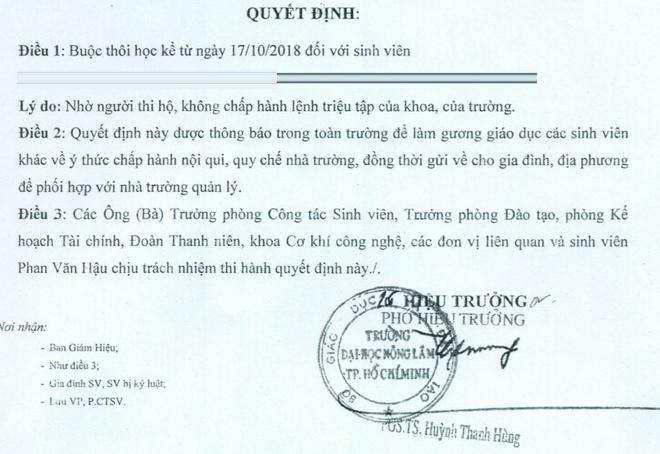 DH Nong Lam TP.HCM dinh chi, buoc thoi hoc nhieu sinh vien nho thi ho hinh anh