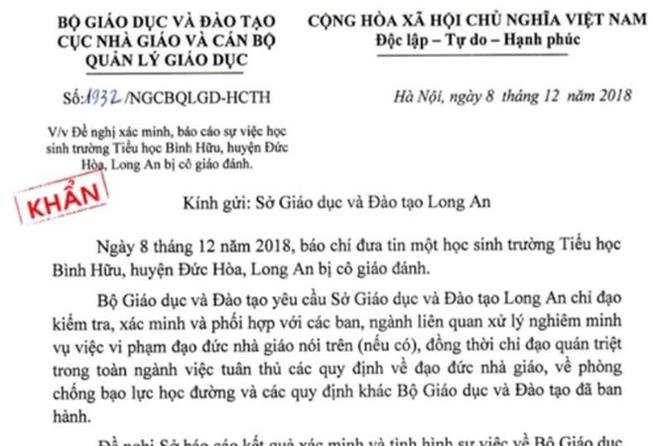 Bo GD&DT yeu cau bao cao khan vu hoc sinh lop 1 nghi bi co giao danh hinh anh