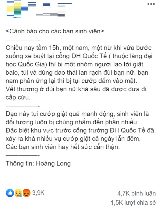 DH Quoc te TP.HCM phu nhan thong tin 2 sinh vien bi cuop, rach dui hinh anh 1