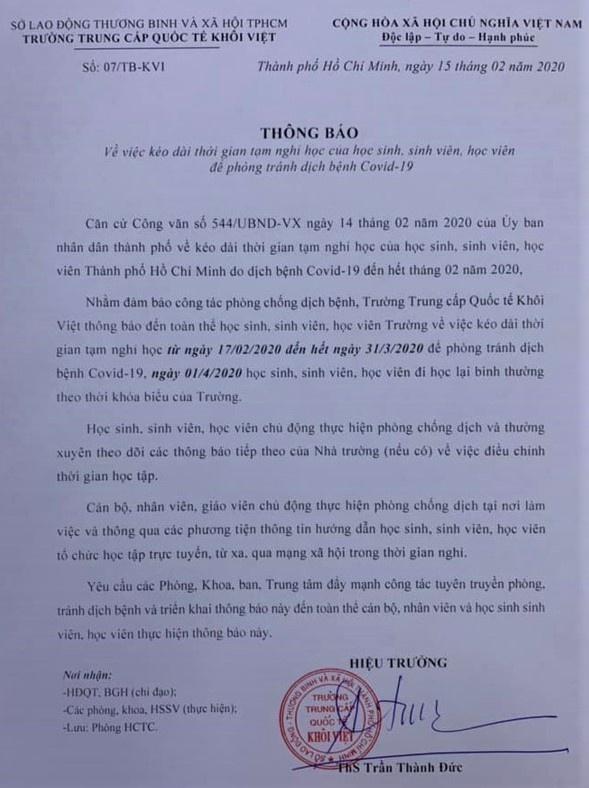 Truong hoc tai TP.HCM cho hoc sinh nghi het thang 3 hinh anh 1 thong_bao_nghi_2_.jpg