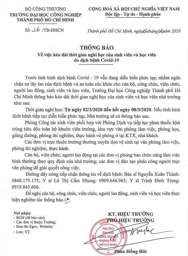 3 truong dai hoc tai TP.HCM cho sinh vien nghi them mot tuan hinh anh 1 thong_bao_dh_cong_nghiep.jpg