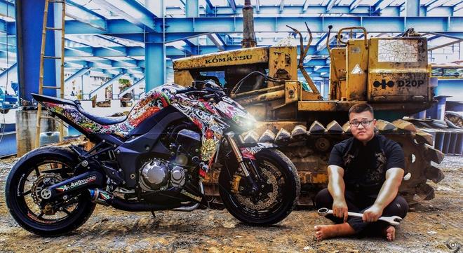 Kawasaki Z1000 do phong cach mafia Nhat cua biker Sai Gon hinh anh 1